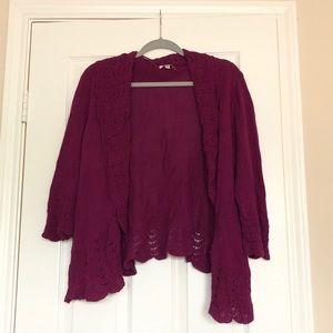 Lace Trim Crochet Cardigan - Croft & Barrow